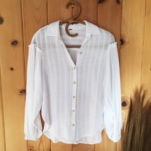 Free People white ruffle shoulder top